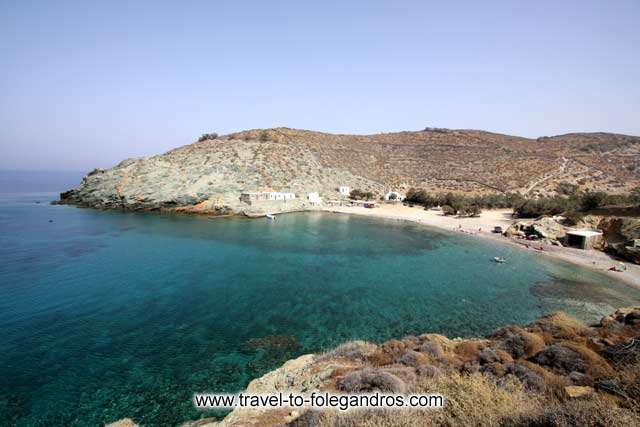 Panoramic view of the beautiful beach of Agios Georgios at the northern part of Folegandros. FOLEGANDROS PHOTO GALLERY - Agios Georgios beach by Ioannis Matrozos