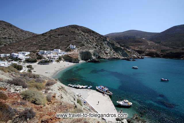 View of Agali beach and the small dock with the boats FOLEGANDROS PHOTO GALLERY - Agali bay by Ioannis Matrozos