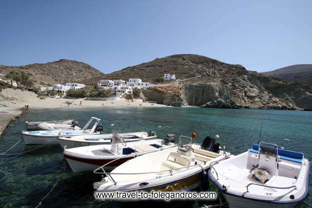 Fishing boats dock at Agali beach FOLEGANDROS PHOTO GALLERY - Boats in Agali by Ioannis Matrozos