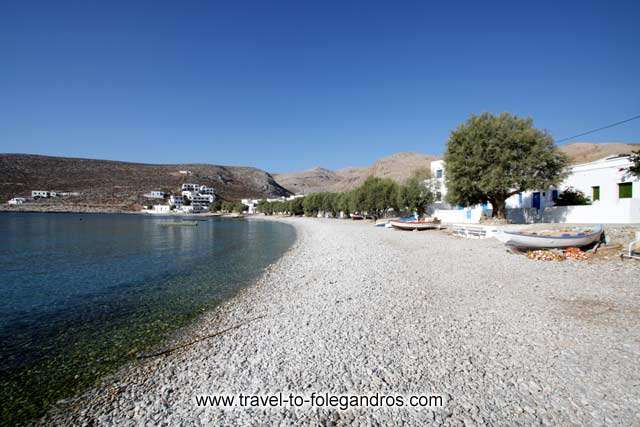 Pine trees and boats on Chochlidia beach FOLEGANDROS PHOTO GALLERY - Chochlidia beach by Ioannis Matrozos