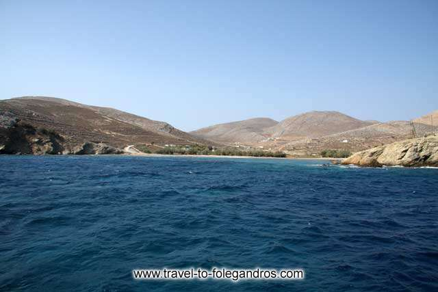 View of Livadi beach from the sea FOLEGANDROS PHOTO GALLERY - Livadi Beach by Ioannis Matrozos