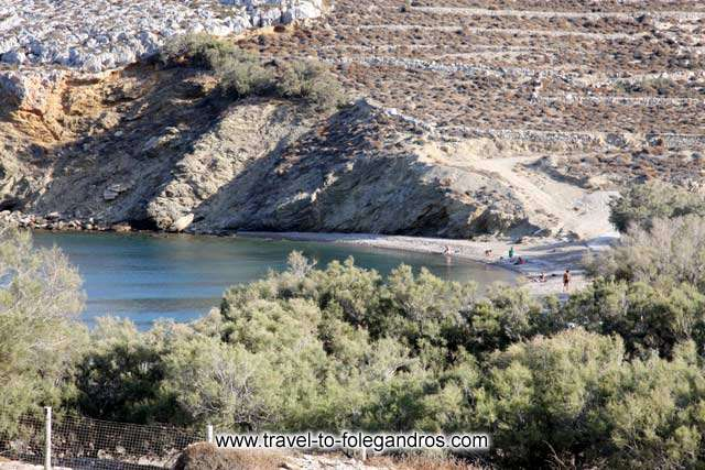 Livadi beach behind the pine trees - People swimming at Livadi beach by Ioannis Matrozos