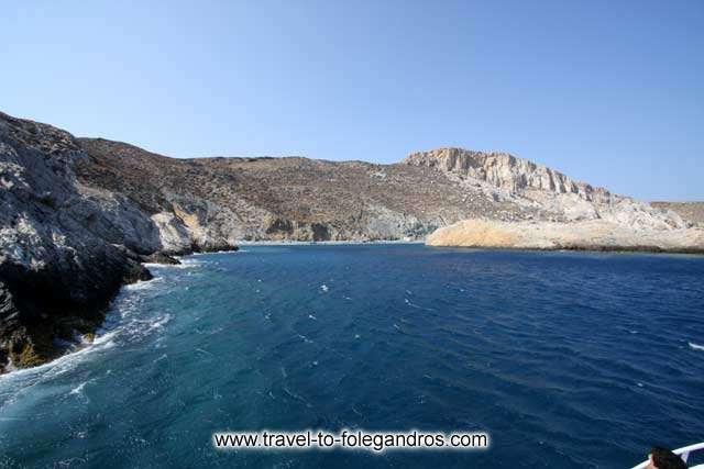 View of Katergo beach from the boat on the tour around Folegandros
