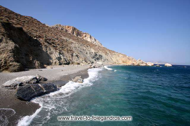 View of the beautiful beach of Katergo, one of the beaches accessible only by boat FOLEGANDROS PHOTO GALLERY - Katergo Beach by Ioannis Matrozos