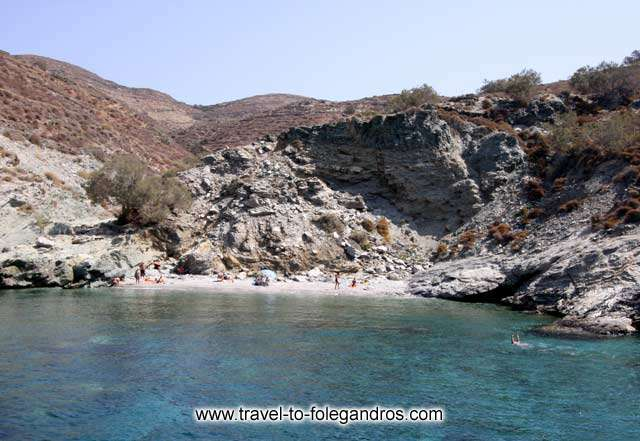 Few tourists sunbathing at Ambeli, this beach is accessible by road FOLEGANDROS PHOTO GALLERY - Ambeli beach by Ioannis Matrozos