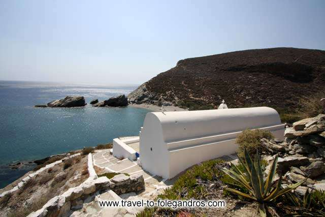 View of Saint Nicholas chapel and the homonymous beach behind it FOLEGANDROS PHOTO GALLERY - Agios Nikolaos by Ioannis Matrozos