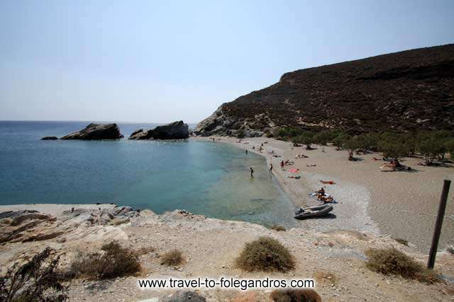 View of the beautiful beach of Agios Nikolaos from the small cafe restaurant at the south part of the beach FOLEGANDROS PHOTO GALLERY - Agios Nikolaos by Ioannis Matrozos