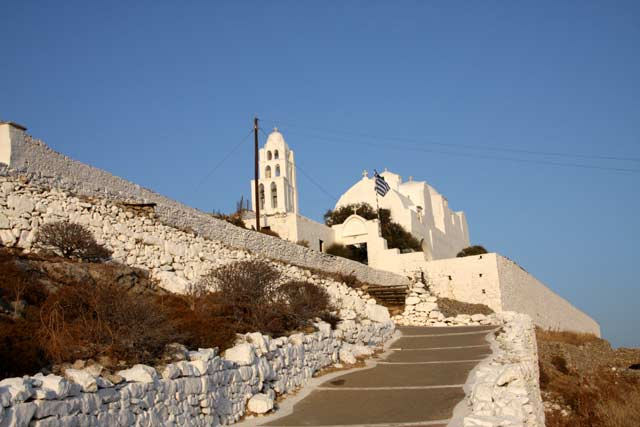 Panagia - View of Virgin Mary monastery from the pathway by Ioannis Matrozos