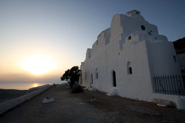 Panagia - View of the monastery building from the yard at sunset