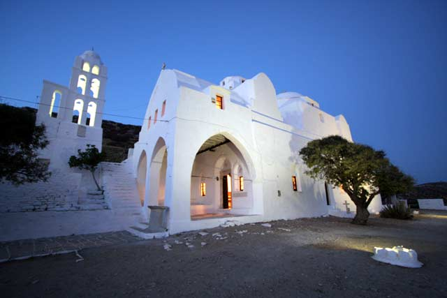 Panagia - View of the church of the Virgin Mary just after the sunset