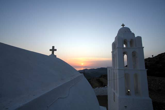 Panagia - View of the sunset from the top of the church