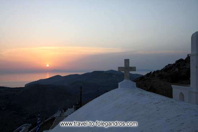 Sunset at the church of the Virgin Mary FOLEGANDROS PHOTO GALLERY - Sunset by Ioannis Matrozos