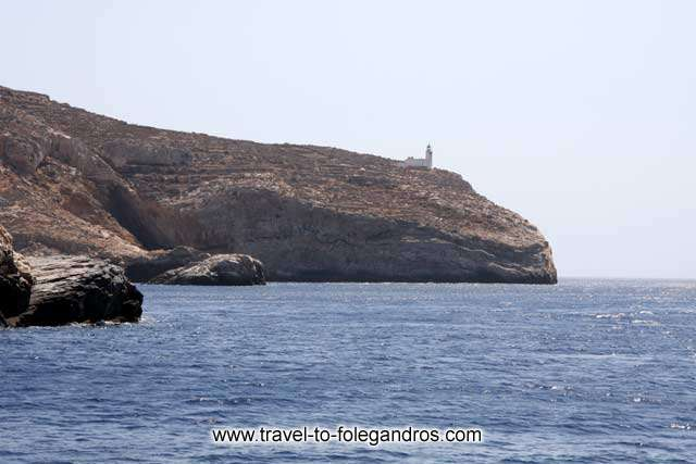 View of Aspropounta Lighthouse from the tour boat FOLEGANDROS PHOTO GALLERY - Aspropounta Lighthouse by Ioannis Matrozos